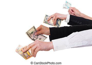 quattro, differente, valute, importante, mani