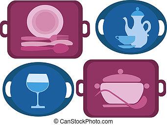 quattro, differente, vassoio, piatti