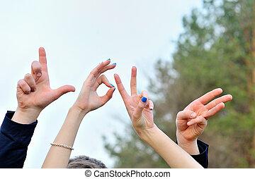quattro, dita, di, il, mano, fare, parola, amore