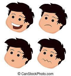 quattro, espressioni, facciale, icone