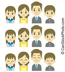 quattro, espressioni, famiglia