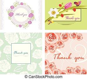 quattro, floreale, lei, cartelle, ringraziare