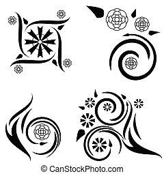 quattro, floreale, progetta, tatuaggio
