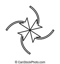quattro, frecce, centro, cappio, icona