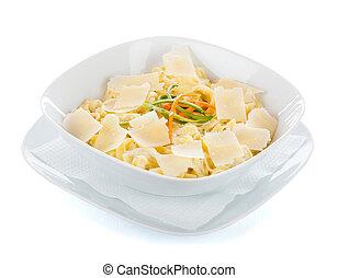 Delicious quattro fromaggi pasta with tagliatelle and sauce.