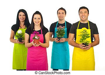 quattro, giardinieri, lavorante, fiori, offerta