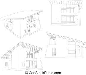 quattro, house., cornice, angolo