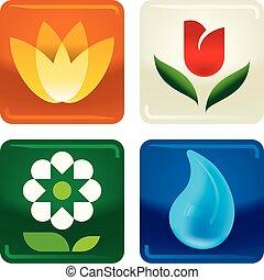 quattro, icone, goccia, acqua, fiori, baluginante, style.