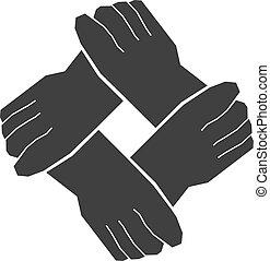 quattro, lavoro squadra, mani