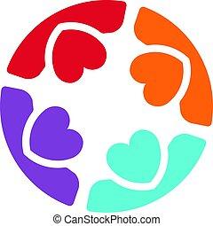 quattro, logotipo, cura, persone riunione