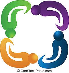quattro, logotipo, lavoro squadra, persone