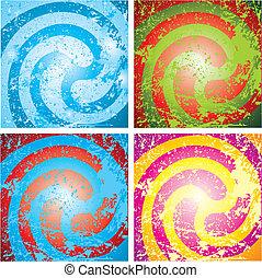 quattro, multicolore, astratto, grunge, fondo