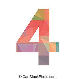 quattro, numero, colorito