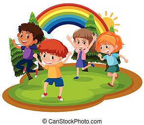 quattro, parco, bambini, felice