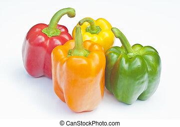 quattro, peperoni, rosso, giallo, arancia, &, verde