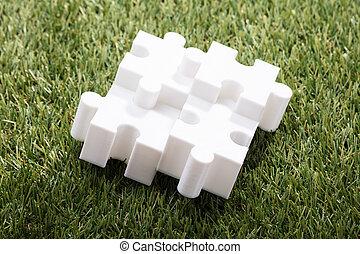 quattro, puzzle, jigsaw, vista elevata