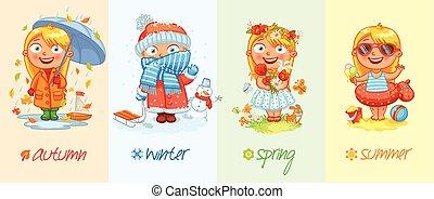 quattro, ragazza bambino, stagioni