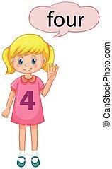 quattro, ragazza, numero, gesto, mano