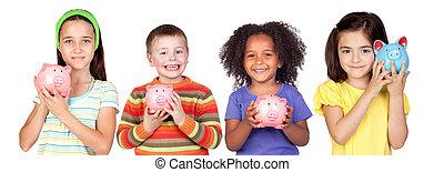 quattro, risparmi, felice, bambini, moneybox