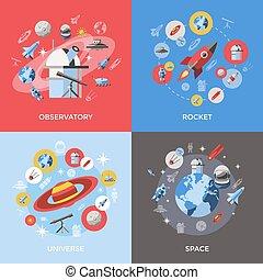 quattro, set, spazio, icona