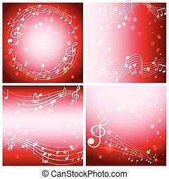 quattro, sfondo rosso, con, note musica
