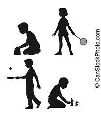 quattro, silhouette, set, bambini