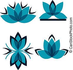 quattro, simboli, da, il, blu, petali