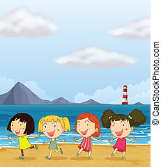 quattro, spiaggia, ragazze, ballo