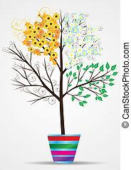 quattro, stagione, albero, vettore, eps8