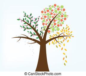 quattro, stagione, albero