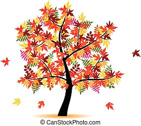 quattro, stagione, autunno, -, albero
