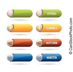 quattro, stagione, bottoni