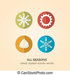 quattro, stagione, illustrazione