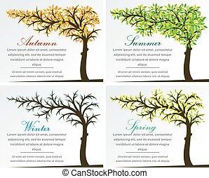 quattro stagioni, albero, fantasia