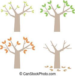 quattro stagioni, albero, semplice