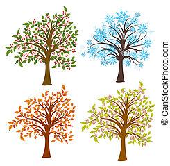 quattro stagioni, albero, vettore