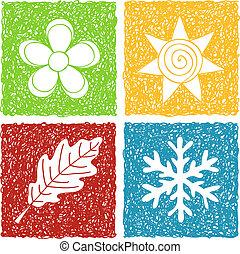 quattro stagioni, scarabocchiare, icone