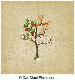 quattro stagioni, vecchio, albero, fondo