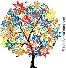 quattro stagioni, vettore, -, albero