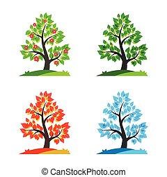 quattro stagioni, vettore, illustrazione