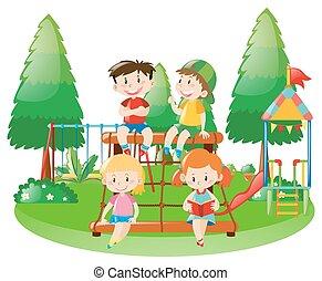 quattro, stazione, bambini, scena, rampicante