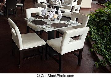quattro, tavola, albergo, ristorante
