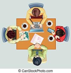 quattro, tavola, riunione, detenere, persone