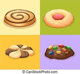 quattro, tipi, di, biscotti