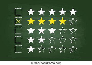 quattro, valutazione, stella, cliente