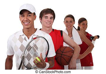 quattro, vestito, differente, adolescenti, sport