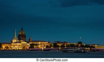 quay a panorama in St. Petersburg at night.Russia