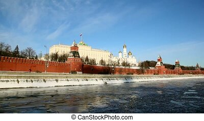Quay and walls of Moscow Kremlin and Ivan Great Bell Tower -...