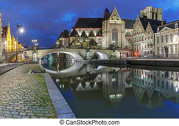 Quay Graslei and St Michael Bridge at night, Ghent