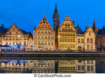 Quay Graslei in Ghent town at evening, Belgium - Picturesque...